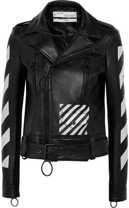 Off-White - Printed Leather Biker Jacket - Black $2,350 thestylecure.com