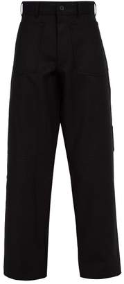Comme des Garcons Reverse Pocket Wool Trousers - Mens - Black