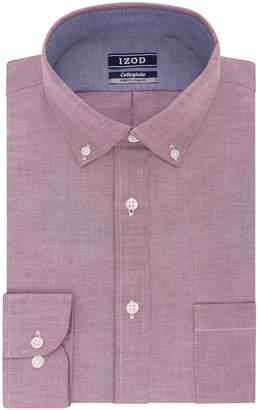 Izod Men's Slim Fit Collegiate Print Buttondown Collar Dress Shirt