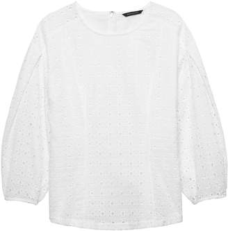 Banana Republic Eyelet Bubble-Sleeve Top