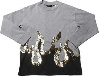 Diesel Flames Sequined Cotton Sweatshirt