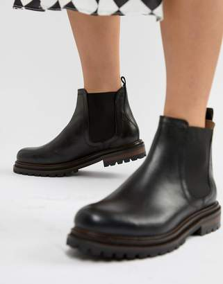 Hudson London Black Leather Chunky Chelsea Boots