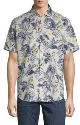 Saks Fifth Avenue Linen Blend Palm Print Sport Shirt