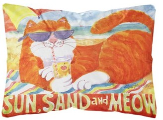Caroline's Treasures Orange Tabby at the beach Decorative Canvas Fabric Pillow