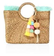 JADEtribe Square Fringed Basket Beach Bag