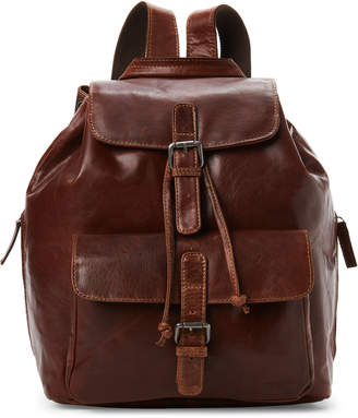 Jack Georges Voyager By Leather Drawstring Flap Backpack