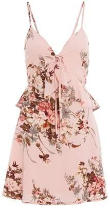 Quiz Pink Floral Frill Skater Dress