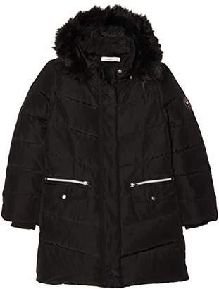 Name It Girl's Nkfmela Down Jacket Camp Detail: with Black Color Fur