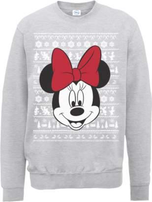 Disney Minnie Mouse Christmas Minnie Face Grey Christmas Sweatshirt