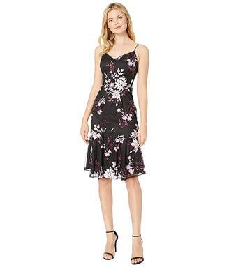 Adrianna Papell Floral Sequin Midi Cocktail Dress