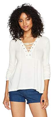 Eye Candy Women's L/s Waffle Rib Mixed High-Lo Top W/Lace up Detail