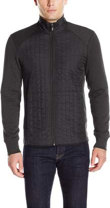 Perry Ellis Men's Quilted Mix Media Knit Jacket, Black