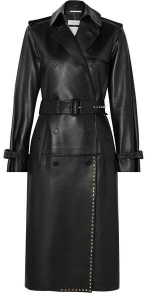 Studded Leather Trench Coat - Black