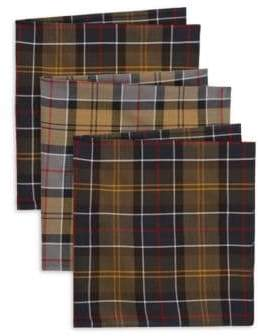 Barbour Classic Accessories Set Of Three Tartan Pocket Squares