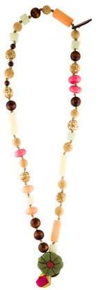 Marni Straw, Wood & Resin Beaded Necklace