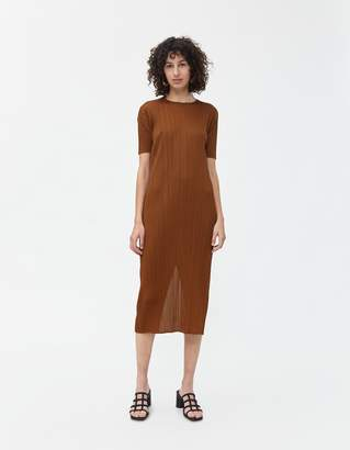 Pleats Please Issey Miyake Monthly Colors Dress in Brown