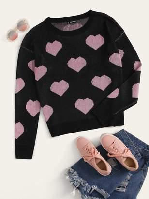 Shein Plus Heart Print Sweater