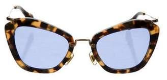 Miu Miu Tortoiseshell Gold-Tone Sunglasses