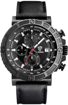 HongBoom New Sport Leather Army Watch Men's Military Quartz Calendar Watches Waterproof Stopwatch