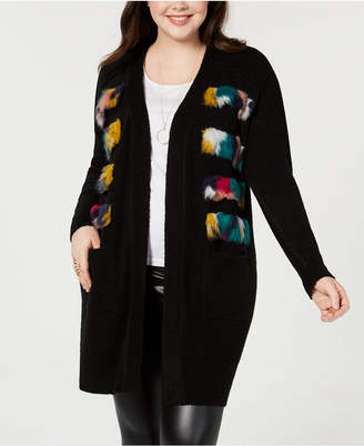 Say What Trendy Plus Size Faux-Fur Cardigan Sweater