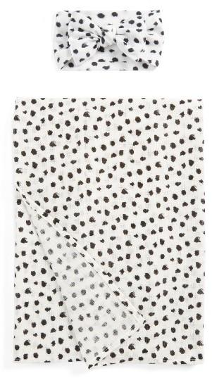 Baby Bling Dot Print Swaddling Blanket & Headband Set