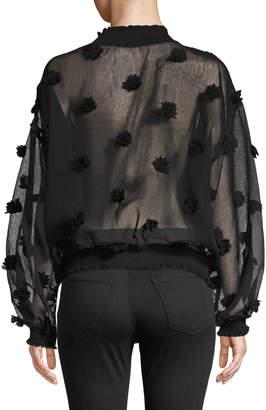 Allison New York Sheer Pompom Long-Sleeve Pullover Top