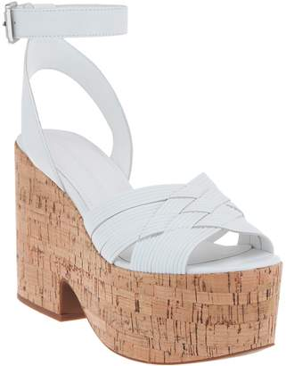 Sigerson Morrison Woven Leather Cork Wedge Sandal - Becca