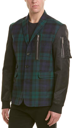DSQUARED2 Leather-Trim Wool Jacket