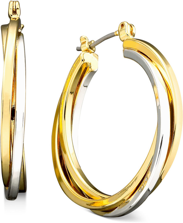 Lauren Ralph Lauren Large Two-Tone Twist Hoop Earrings