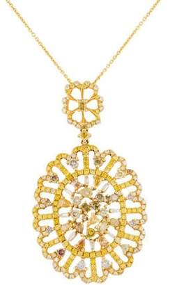 18K Multicolor Diamond Filigree Pendant Necklace