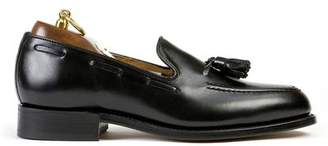 Sanders Finchley Tassel Loafer in Black Calf Leather