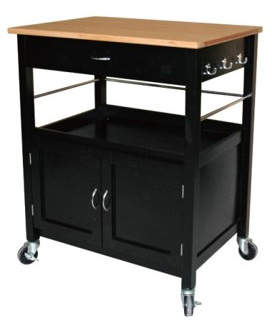 Charlton Home Stillman Kitchen Island Cart with Natural Butcher Block Bamboo Top