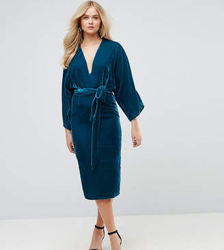 Asos Tall TALL Velvet Plunge Kimono Midi Dress with Tie Waist