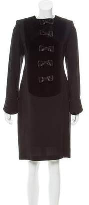 Lanvin Velvet-Paneled Knee-Length Dress