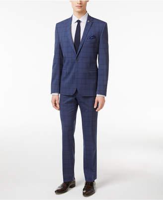 Nick Graham Men's Slim Fit Stretch Blue Windowpane Suit $395 thestylecure.com