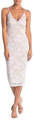Pink Owl Midi Bodycon Lace Dress