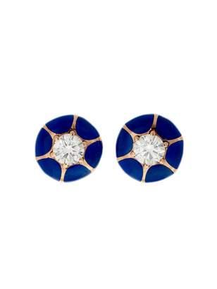 Selim Mouzannar Blue Enamel Diamond Starburst Earrings - Rose Gold