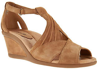 Earth Suede Peep-Toe Wedge Sandals - Curvet