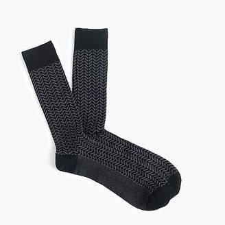 J.Crew Ribbed dress socks in navy chevron print