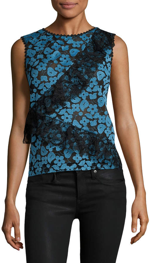 Anna Sui Women's Floral Lace Sleeveless Top