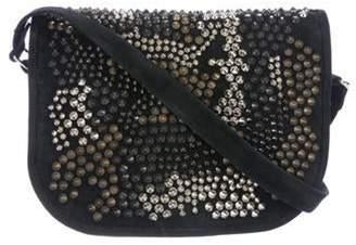 Balmain Suede Embellished Crossbody Bag Black Suede Embellished Crossbody Bag