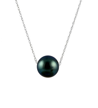 Splendid Pearls Rhodium Plated 8-8.5Mm Tahitian Pearl Necklace