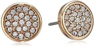"Anne Klein Flawless"" Gold Crystal Pave Button Stud Earrings"