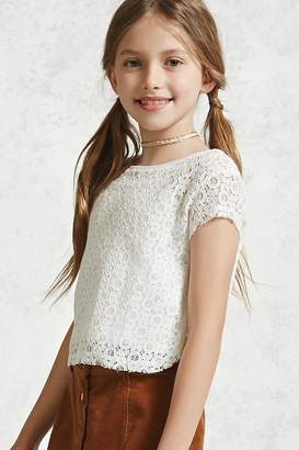 Forever 21 Girls Crochet Lace Top (Kids)