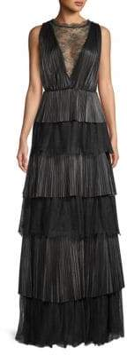Valentino Tiered Leather and Lace Gown