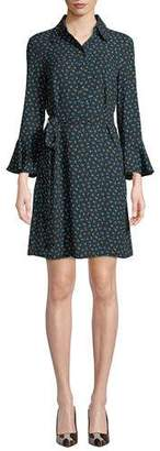 Michael Kors Bell-Sleeve Button-Front Rosebud-Print Silk Georgette Dress