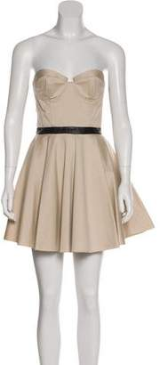 Alice + Olivia Strapless Leather-Accented Dress