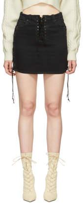 Unravel Black Side Lace-Up Denim Miniskirt