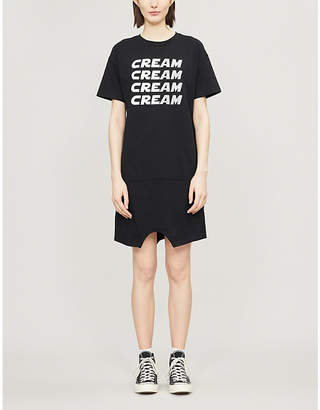 Mini Cream Logo-print stretch-cotton T-shirt dress