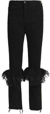 Preen By Thornton Bregazzi Woman Ruffled Lace-trimmed High-rise Slim-leg Jeans Black Size M Preen s7f3gvj